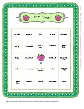 PBIS Bingo and calling cards