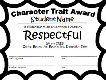PBIS Character Trait Award Pack