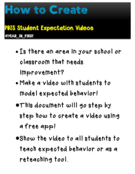 """PBIS """"Cheat Sheet"""" How to Make Student Videos to Teach Positive Behavior"""