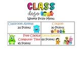 PBIS Class Dojo Prize Menu Printable