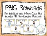 PBIS Classroom Rewards - Individual Rewards - Non Tangible Rewards