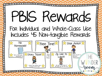 PBIS Classroom Rewards - Individual Rewards - Non Tangible Rewards