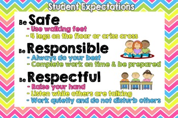PBIS Classroom Rules / Expectations Chart - bright chevron