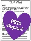PBIS Inspired Behavior Reflection Think Sheet