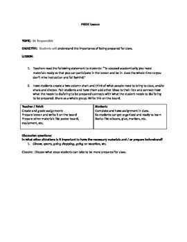 PBIS Lesson Plan- Being Prepared For Class
