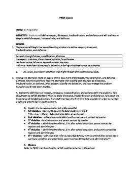 PBIS Lesson Plan- Being Respectful
