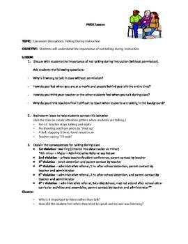 PBIS Lesson Plan- Talking During Instruction