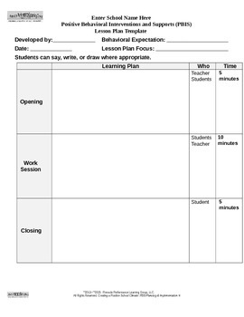 PBIS Lesson Plan Template