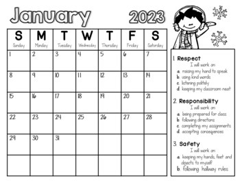 PBIS Monthly Behavior Calendars EDITABLE!!  {Updated Yearly!}