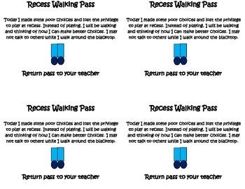 No Recess Walking Pass