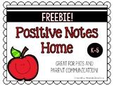 PBIS Positve Behavior Notes Home