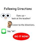 PBIS Poster Behavior Management: Following Directions