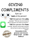 PBIS Poster Behavior Management: How to Give Compliments