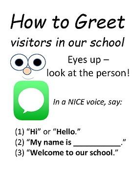 PBIS Poster Behavior Management: How to Greet Visitors