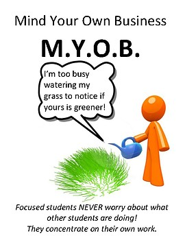 PBIS Poster Behavior Management: How to Mind Your Own Business (M.Y.O.B.)