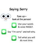 PBIS Poster Behavior Management: Saying Sorry