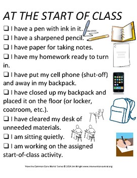 PBIS Poster Behavior Management: Starting Class