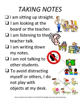 PBIS Poster Behavior Management: Taking Notes
