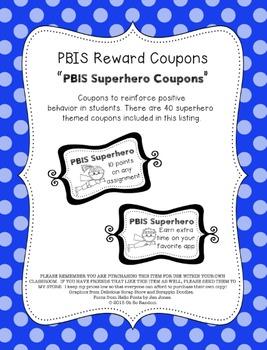 PBIS | Reward Coupons | Superhero Themed