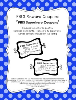 PBIS | Reward Coupons | Superhero Themed