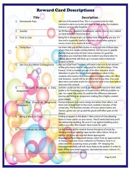 PBIS Reward System- Basic Reward Card Set (Bubbles)
