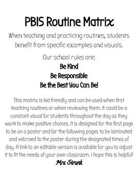 PBIS Routine Matrix