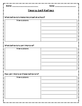 PBIS Self-Reflection Sheet (Lower Primary)