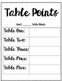 PBIS Table Point Chart