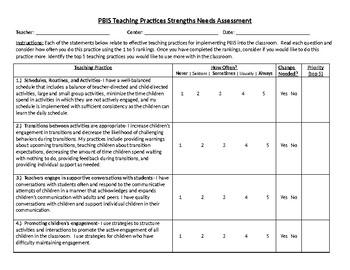 PBIS Teacher Needs Assessment Goal Planning