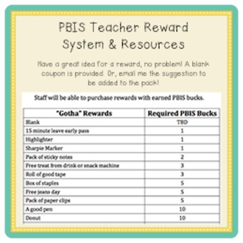PBIS   Teacher Reward System & Resources