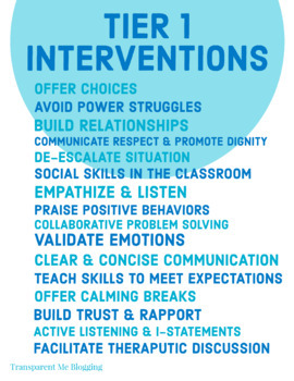 PBIS Tier Support and Interventions Posters