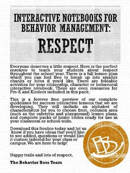 PBIS life lessons- RESPECT with foldables