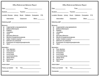 PBIS office referral form