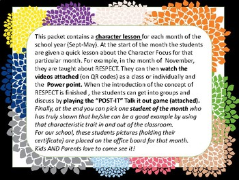 growth mindset character -student of the month lessons with  QR codes