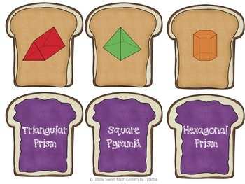 PB&J Math Matches- Identifying 2D and 3D Shapes