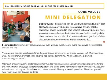 PBL 101 - Implementing Core Values in the Active Classroom - Mini Delegation