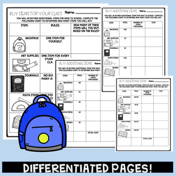 PBL Math Back To School Multiplication and Division