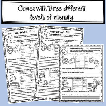 PBL Math Multiplying Decimals (or Whole Numbers) Menu Math