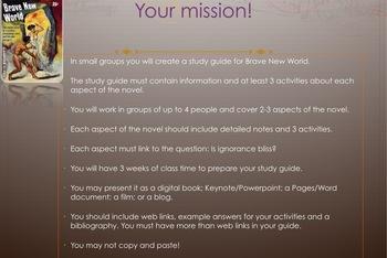 PBL Brave New World novel study