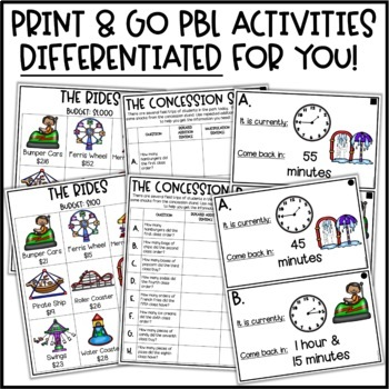PBL Math Project for At Home Learning | Theme Park Project Based Learning