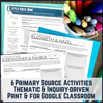 Little Rock Nine Primary Source Activity 7-Pack & PBL Project