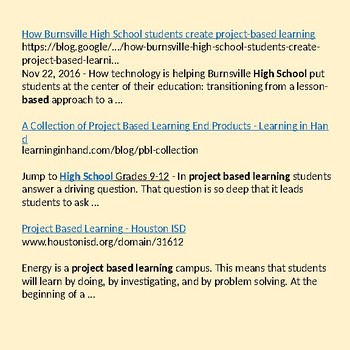 PBL Resources for High School