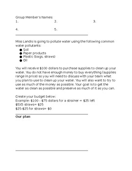 Water Pollution Project-Based Learning