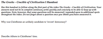 PBS Greeks - Crucible of Civilization Video Viewing Questions #1