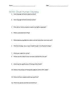 PBS NOVA: Great Human Odyssey Video Questions