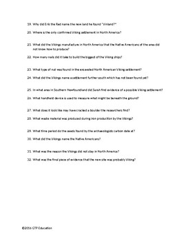 PBS NOVA: Vikings Unearthed Video Questions Worksheet