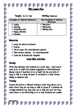 Pbs Social Skills Lesson Plan Being On Task By