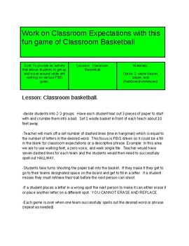 PBiS Expectations Basketball