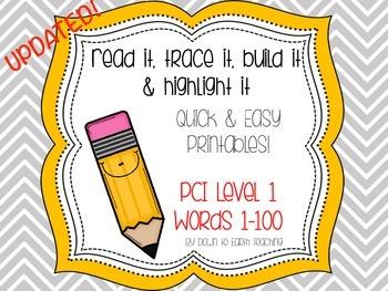 PCI Level 1 Sight Words: Read It, Trace It, Build It & Hig