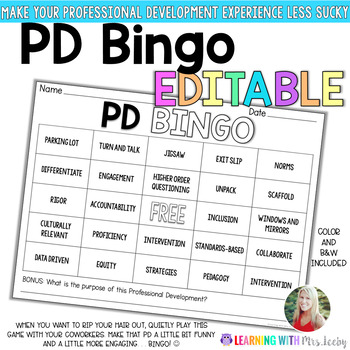 PD BINGO - EDITABLE - Make Professional Development Fun and Engaging!